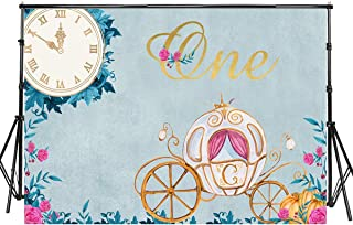 Sensfun 8x6ft Fairy Tale 1st Birthday Photo Backdrop Cinderella's Cartoon Pumpkin Carriage Flower Clock Photography Background for Little Princess Birthday Cake Table Banner Photo Booth Props(SXY474)