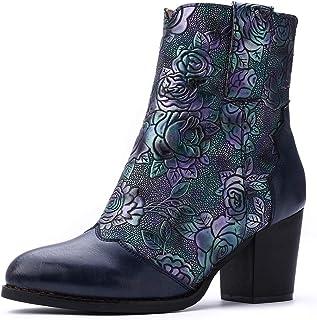 gracosy Bottines Cuir Femmes Talons, Chaussures de Ville Hiver à Talons Confortable Bottes Santiags Habillé Zip Boots Orig...