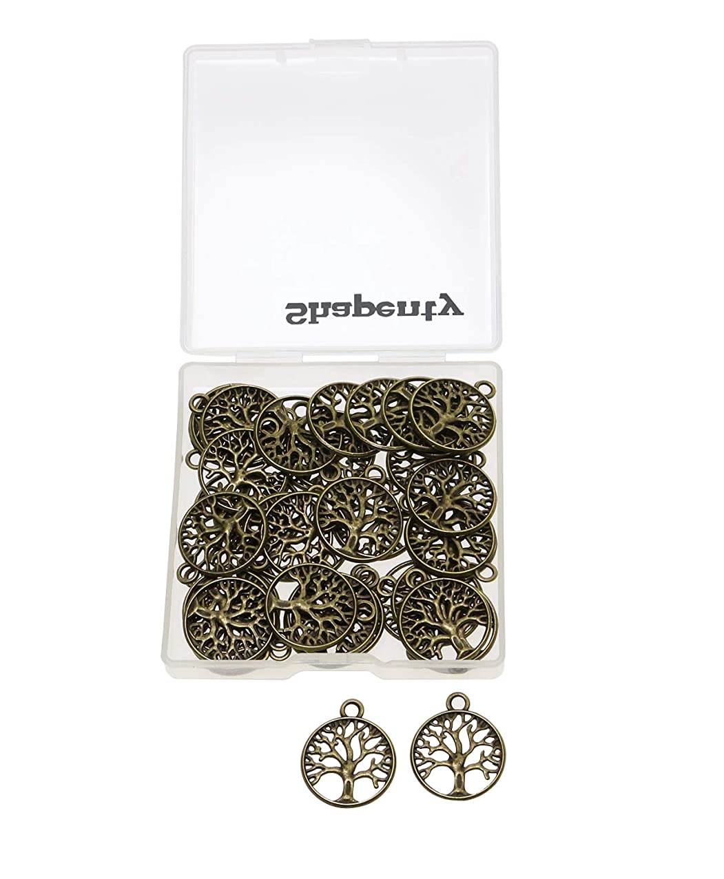 Shapenty Round Metal Tree of Life Charms Pendants Beads Bulk Jewelry Findings Making Accessory for DIY Craft Bracelet Necklace Earring Keychain, 50PCS (Antique Bronze)