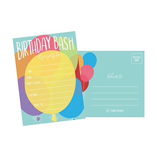 25 Balloon Rainbow Party Invitations For Kids Teens Adults Boys Girls