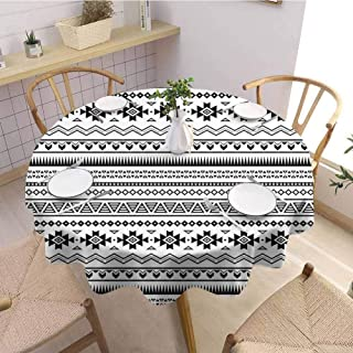 DILITECK Native American Pad Round Tablecloth Aztec American Folkloric Art Borders Ancient Tribal South America Culture Jacquard Tablecloth D70 Black White