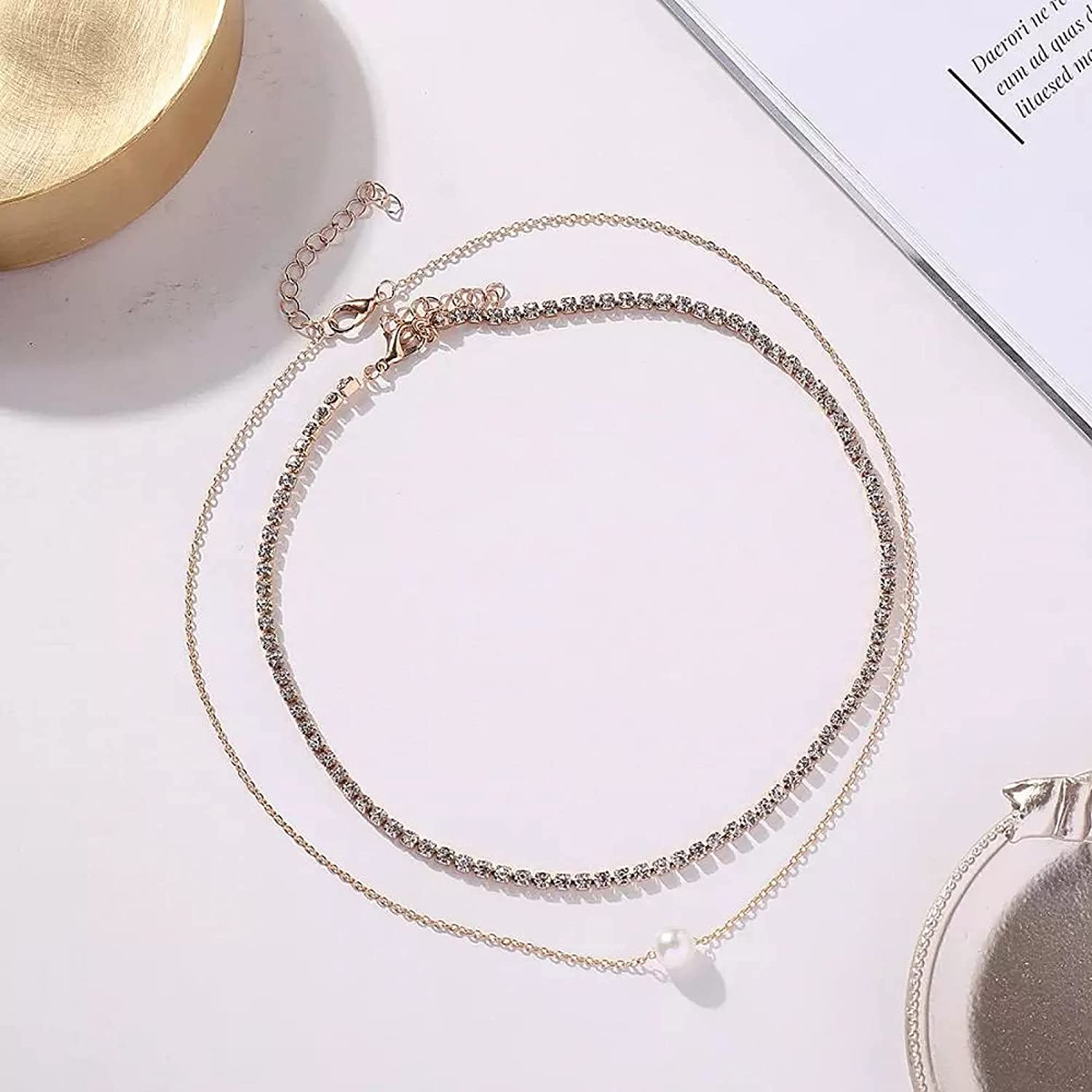 necklace Pendant Jewelry Minilist Crystal Chain Link Choker Necklace for female Bohemia Clavicle Chain Choker Pearl Pendant Necklace Neck Collar Halloween Christmas Valentine's Day Birthday Gift