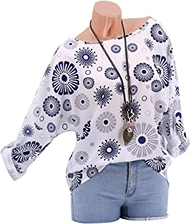 GAOXINGQU Women's Long Sleeve Printed Round Neck T-shirt (Color : White, Size : 5XL)