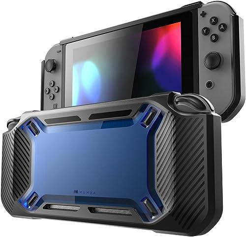 Mumba Étui Switch [ultrarésistant] Mince Caoutchouté Coque de protection rigide Compatible avec Nintendo Switch (Bleu...