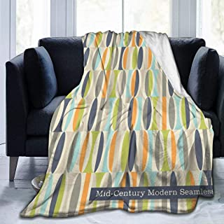 """Fleece Blanket 50"""" x 60""""-Retro in Mid Century Modern Style Home Flannel Fleece Soft Warm Plush Throw Blanket for Bed/Couch/Sofa/Office/Camping"""
