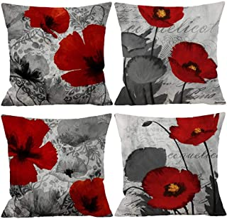 Wilproo Black Red Flower Pillow Covers Love Pillow Covers Decorative Linen Square Throw..