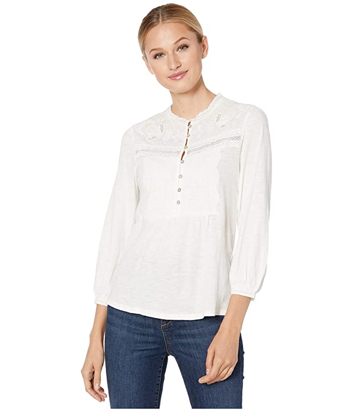Lucky Brand  Applique Bib Henley Top (Cream) Womens Clothing