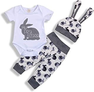 Infant Baby Boy Girl My 1st Easter Short Sleeve Romper and Rabbit Long Pant Outfits Set