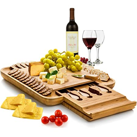 Bambüsi Bamboo Cheese Board and Cutlery Set - Wooden Serving Tray with Slide-Out Hidden Drawer and Wide Juice Groves - Complete Charcuterie Board Set with Cheese Knives and Utensils