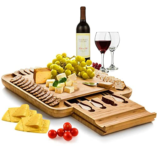 Premium Bamboo Cheese Board Set - BAMBÜSI Charcuterie Board Platter and Knife Set with Hidden Slid-Out Drawer - Perfect Choice for Housewarming, Wedding and Valentine's Day Gift