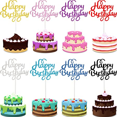 40 Pieces Birthday Cake Toppers Happy Birthday Cake Topper Picks Glitter Cake Topper Decoration for Birthday Party Cake Supplies, 8 Colors (Classic)