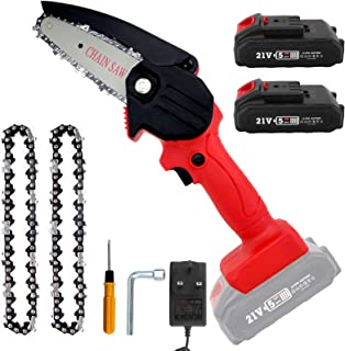 Mini Chainsaw with 2 Batteries & 2 Chains, 4-Inch Cordless Electric Portable Chainsaw Handheld Mini Pruning Shears Chainsa...