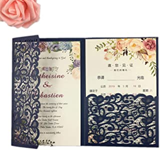 25 sets Pearl White/Ivory/Navy Blue/Burgundy paper Tri Fold Vertico pocket Laser Cut Vintage Wedding Invitations Cards Hollow Carving Greeting invites Engagement Birthday Bridal Show (dark navy blue)