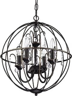Edvivi Dover 4-Light Antique Bronze Globe Sphere Orb Cage Chandelier with Crystals Strands 16.5