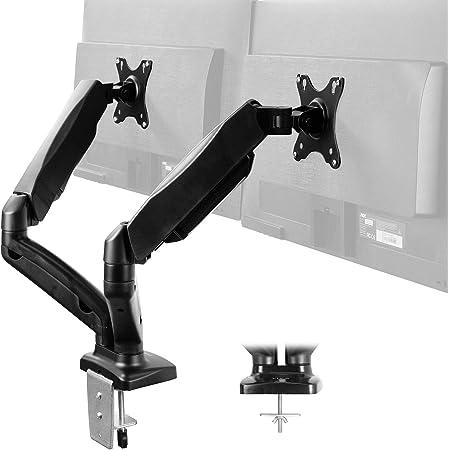 Soporte de escritorio para monitor de doble brazo ajustable en altura de VIVO, inclinación, giro, soporte neumático de contrapeso, brazo de soporte VESA adaptable a la mayoría de las pantallas de hasta 27 pulgadas, modelo STAND-V002O