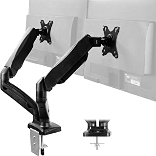 VIVO Dual Arm Monitor Desk Mount Height Adjustable, Tilt, Swivel, Counterbalance Pneumatic Stand | VESA Bracket Arm Fits Most Screens up to 27 inches (STAND-V002O)