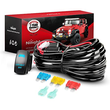 Help 1 Lead Harness to Connect 2 Off Road LED Light Bar Nilight 2PCS 16 AWG Wiring Harness Extension Kit 2 Year Warranty