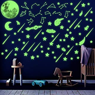 WATINC 233Pcs Glow in The Dark Stickers Constellations Planets Sticker Glowing Shooting Stars Jumbo Moon for Ceiling Kids Room Wall Decals Decorations for Halloween Party Birthday Gift for Girls Boys