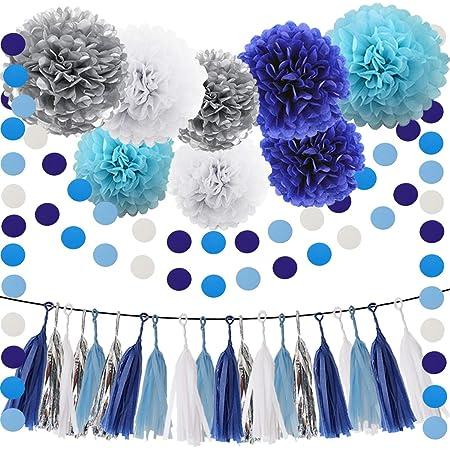 Nursery decor Wedding shower decorations Navy Blue Pom-Pom Garland Baby shower decorations