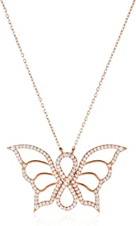 Alwan Women's Silver Rose Gold Plated Necklace, White - EE4850CPLN