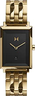 MVMT Signature Square Women's Black Dial Ionic Gold Plated Steel Watch - D-MF03-GGR