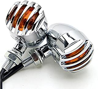 TASWK Chrome Heavy Duty Motorcycle Bullet Turn Signals Bulb Indicators Blinkers Lights a Pair