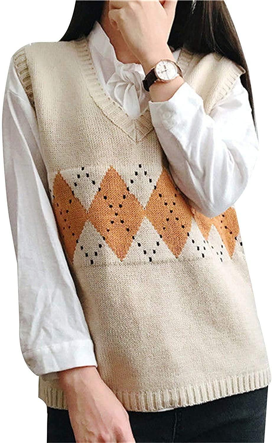 Women's Knitted Cotton V-Neck Vest JK Uniform Pullover Y2k 90s E-Girl Sleeveless Crop Sweater School Cardigan (Dotted Grid Apricot,Large)