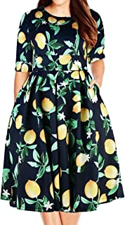 Women's Plus Size Floral 3/4 Sleeve Backless Cocktail Party Swing Dress