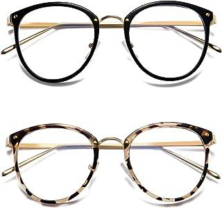 HILBALM Blue Light Blocking Glasses 2 Pack Women and Man Computer Eyeglasses Ashley Metal Frame Glasses (Leopard Print Frame/Anti-Blue Light Lens+Black Frame/Anti-Blue Light Lens)
