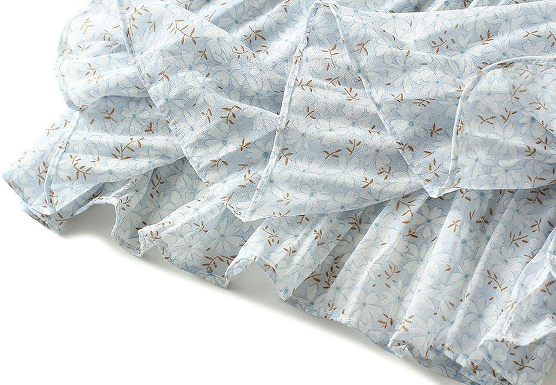 Women's Chiffon Midi Skirt High Waist Layered Pleated Floral Skirt Summe