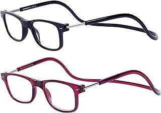 564b5bbd28 Magnéticas Gafas de lectura Plegables 2-Pack Negro Rojo +1.5 Presbicia  Vista para Hombre