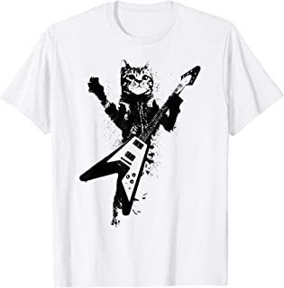 Cat Playing Flying V Guitar Iconic Ironic Shirt