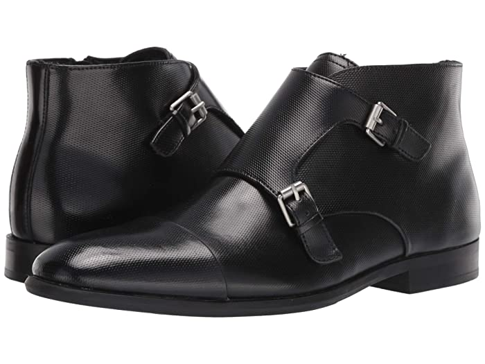 Steampunk Boots and Shoes for Men Calvin Klein Ludo Black Emboss Leather Mens Shoes $118.30 AT vintagedancer.com