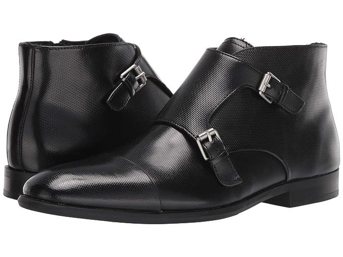 Mens Retro Shoes | Vintage Shoes & Boots Calvin Klein Ludo Black Emboss Leather Mens Shoes $118.30 AT vintagedancer.com