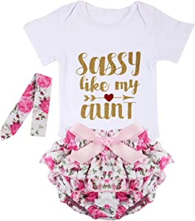 مجموعة أزياء puseky للأطفال حديثي الولادة مطبوع عليها Sassy Like My Aunt رومبير قصير توتو مع عصابة رأس