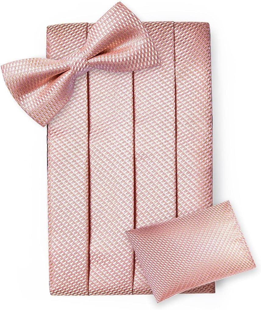 UXZDX Pink Solid Men Cummerbund Bow Tie Pocket Square Cufflinks Set Men Tuxedo Suit Accessories Elastic Belts for Men (Color : C, Size : One Size)
