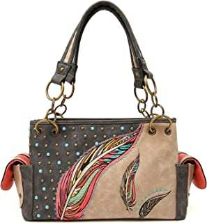 Angie&Allie Women Western Top Handle Handbags Carry Conceal Purses Shoulder Bag Rhinestone Studded Feather Vintage Tote Bag