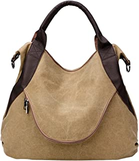 Fanspack Vintage Canvas Hobo Handbags Top Handle Shoulder Tote Shopper Handbag for Women