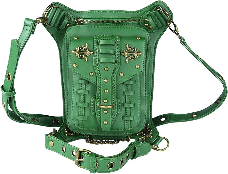 Esquirla Steampunk Bag,Waist Bag/Shoulder Bag/Vintage Leather Shoulder Bag/Leg Bag Gothic Unisex, Green