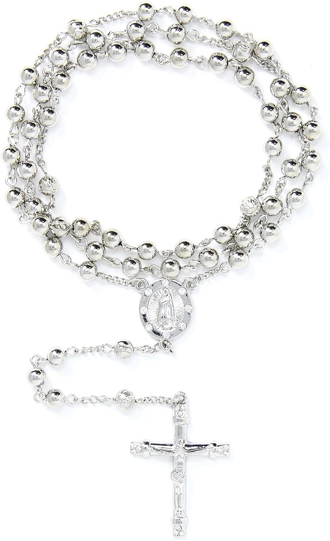 Me Plus 6mm CCB Beads Alloy Crucifix Cross Pendant Rosary Catholic Necklace 20
