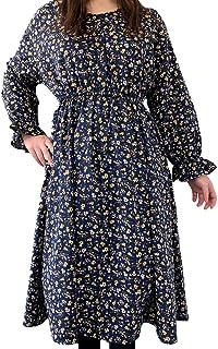 ワンピース [Euphoric] レディース キャンディースリーブ ロング丈 体型カバー Mサイズ 2色 イエロー/ネイビー