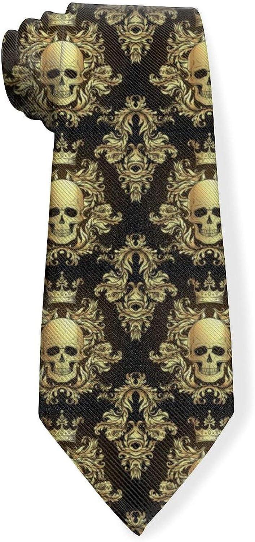 Gold Baroque Ornament Damask StyleMens Classic Color Slim Tie, Men's Neckties, Fashion Boys Cravats