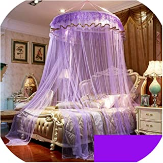 Style Hung Dome Lace Curtain Canopy for Single Double Bed Adults & Kids Netting Tent Bed Polyester Mesh klamboe,menghuan Purple,1.5m (5 feet) Bed