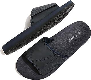 ARRIGO BELLO Sliders Hook&Loop/Latex Sole Sandals Leather for Men Non-Slip Flip Flops Slippers Beach Outdoor Indoor Size 7...