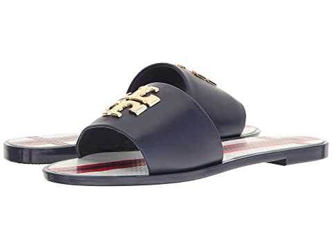 fa5e09cba8cfa ... Tory Burch Logo Jelly Slide at 6pm factory outlets 5fb18 37f4d  Womens  New Style FootWear Tory Burch Jelly Slide Flat Rubber Gold Logo Flip Flop  ...