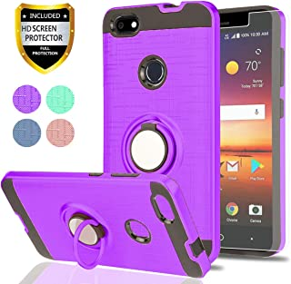 ZTE Blade X Z965 Case with HD Screen Protector,Ymhxcy 360 Degree Rotating Ring & Bracket Rubber Dual Layer Shock Bumper Resistant Back Cover for ZTE Blade X Z965-ZH Purple