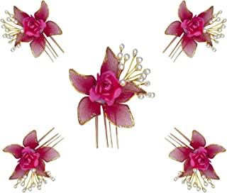 Confidence Flower Pins Bun Accessories For Women Hair Set Of 5 Pack Of 1 (Pink)