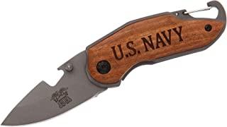 FAYERXL Engraved Soldiers Knife for Veteran Gift, US Navy Combat Rescue Fight Knife,Navy Folding Elite Tactical Knife, Law...