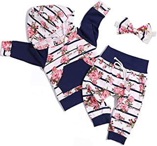 FUTERLY Toddler Infant Baby Girls Long Sleeve Plum Blossom Hoodie Sweatshirt Top with Floral Pants Newborn Outfit Set12-18...