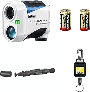 Nikon Coolshot Pro Stabilized Golf Rangefinder with 2 Spare Batteries Lens Pen & Retractable Rangefinder Tether Bundle